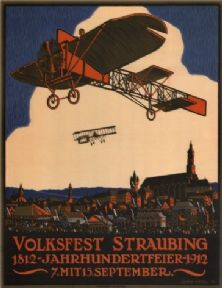 Vintage German poster - Week of aviation (1912)